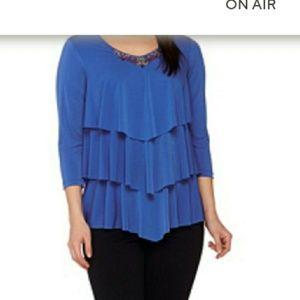 Susan Graver Artisan Ruffled Shirt Top large